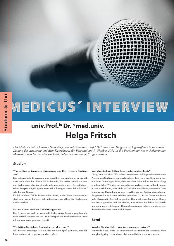 Medicus`Interview mit univ. Prof.in Helga Fritsch : Anatomie-Innsbruck