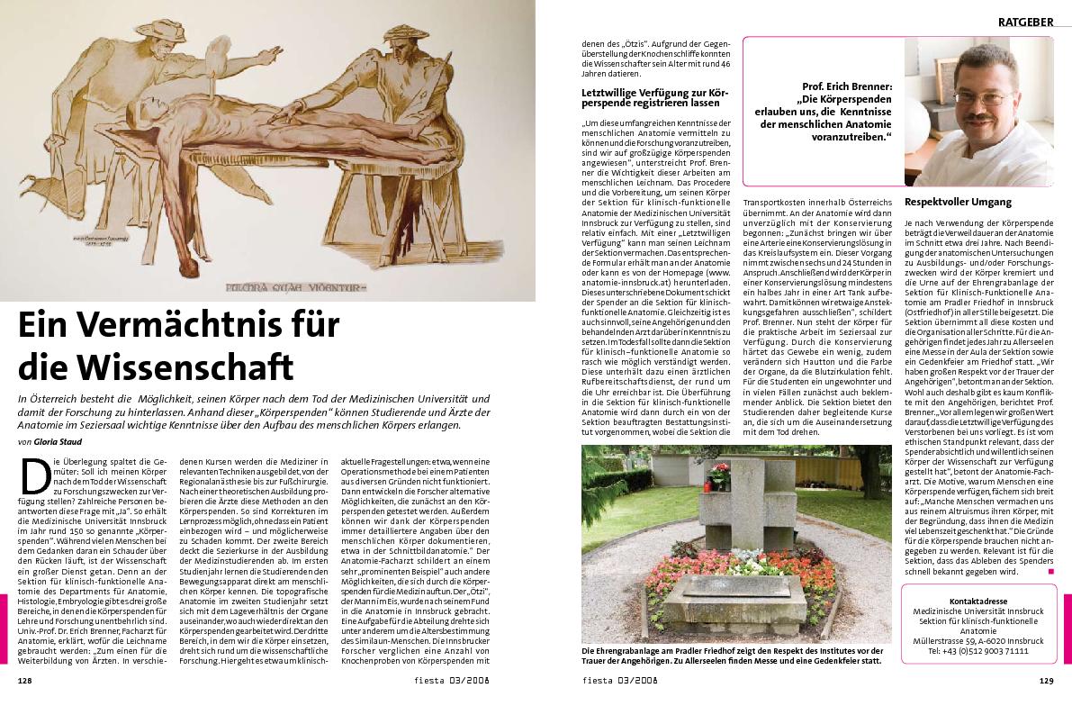Ein Vermächtnis für die Wissenschaft : Anatomie-Innsbruck