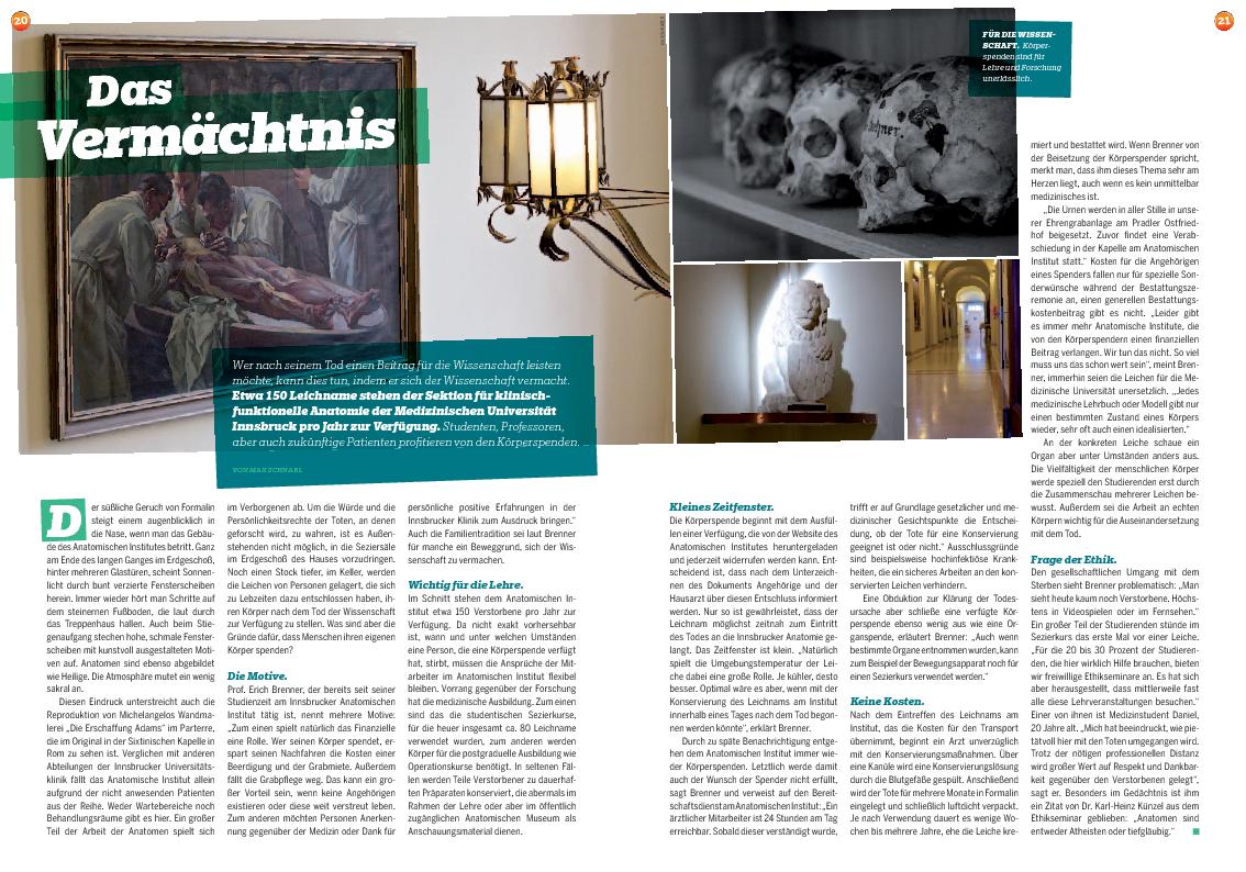 Das Vermächtnis - Artikel in 6020 vom Feber 2013 : Anatomie-Innsbruck
